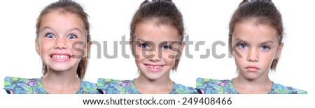 Closeup portrait of pretty little girls - stock photo