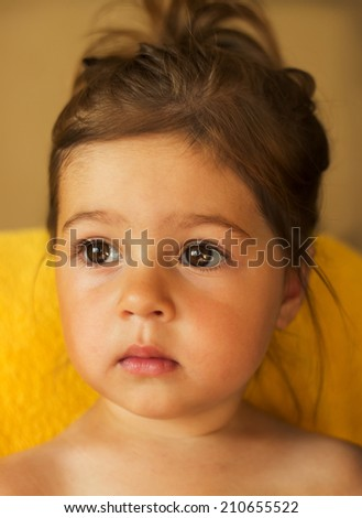 Closeup portrait of pretty little kid - stock photo