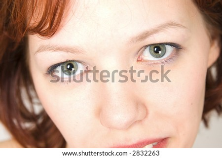 Closeup portrait of pretty model - stock photo