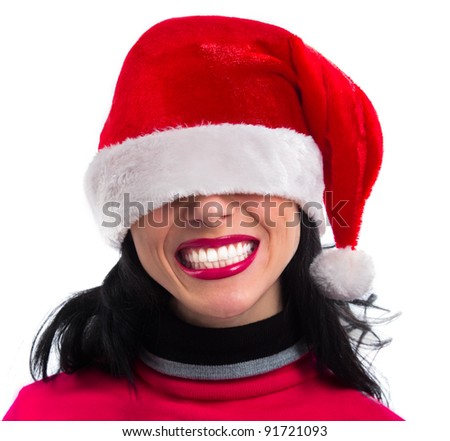Closeup portrait of Pretty  smiling Santa girl wearing Christmas hat on her eyes , isolated over white background - stock photo