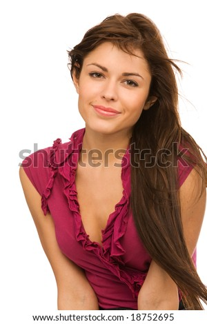 closeup portrait of pretty woman on a white background - stock photo