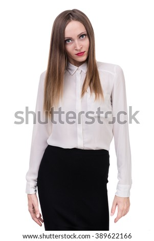 Closeup portrait of sad and angry woman isolated on white studio shot - stock photo