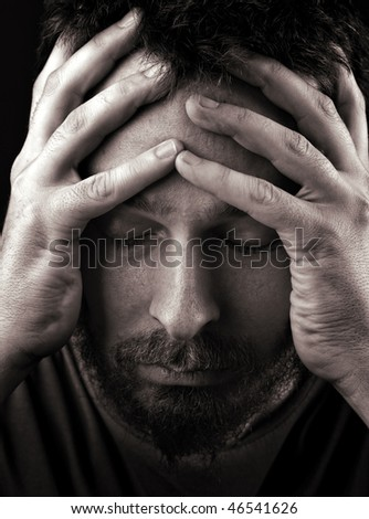 Closeup portrait of sad depressed and lonely man - stock photo