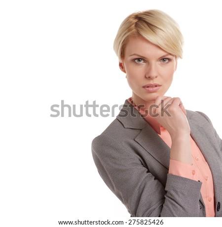 Closeup portrait of scandinavian young blonde businesswoman. - stock photo