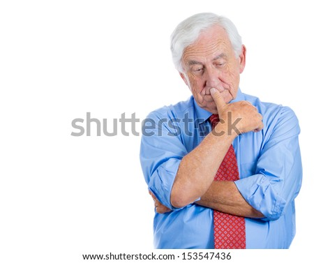 Closeup portrait of senior elderly mature man trying to remember something in deep thought and worried, isolated on white background with copy space - stock photo