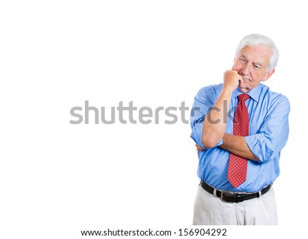 Closeup portrait of senior elderly mature man with subtle smile on his face trying to remember something in deep thought, good memories, isolated on white background with copy space - stock photo