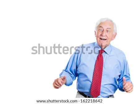 Closeup portrait of senior, mature, elderly man, grandpa, businessman, corporate executive laughing at you, isolated on white background with copy space. Positive human emotions and facial expressions - stock photo