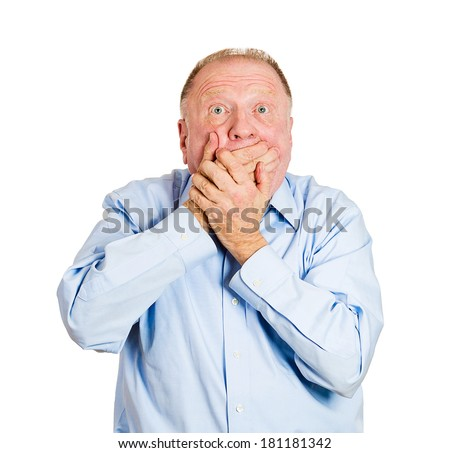 Closeup portrait of senior mature, shocked, surprised man with hands covering mouth, eyes wide open in full disbelief, isolated on white background. Positive human emotion facial expression feelings - stock photo