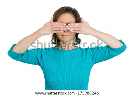 Closeup portrait of senior mature woman, closing, covering eyes with hands can't look, hiding, avoiding situation, isolated on white background. See no evil concept. Human emotions, facial expressions