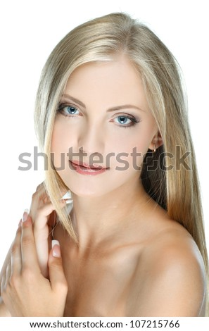 Closeup portrait of sexy white-headed young woman with beautiful blue eyes on white background - stock photo