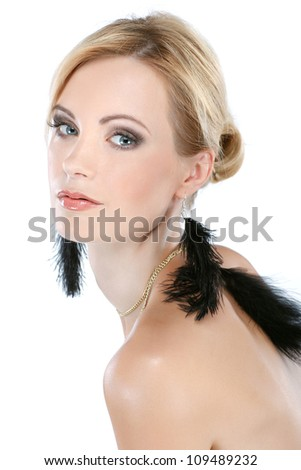 Closeup portrait of sexy white-headed young woman with beautiful blue eyes on white background