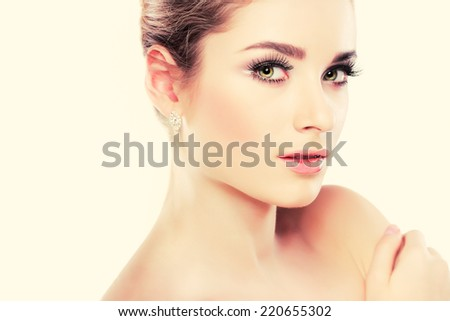 Closeup portrait of sexy whiteheaded young woman, emotions, cosmetics - stock photo