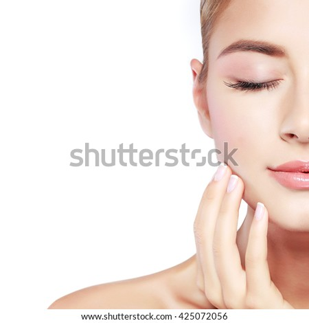 Closeup portrait of sexy whiteheaded young woman with beautiful blue eyes isolated on a light - grey background, emotions, cosmetics