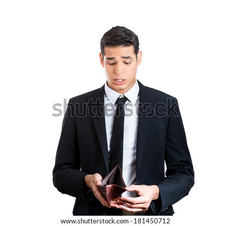 Closeup portrait of shocked, surprised, speechless business man, student, worker, employee, holding empty wallet isolated on white background. Bankruptcy, financial difficulties. Human face expression - stock photo