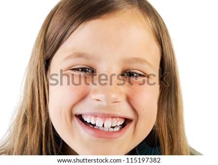 closeup portrait of smiling girl - stock photo