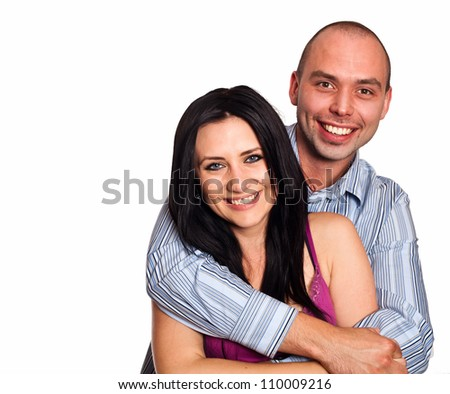 Closeup portrait of smiling young couple in love