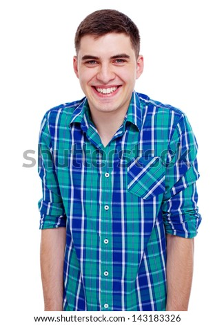 Closeup portrait of smiling young man in checkered shirt. Isolated on white background, mask included - stock photo