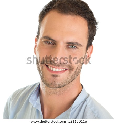 Closeup portrait of smiling young man isolated on white background - stock photo