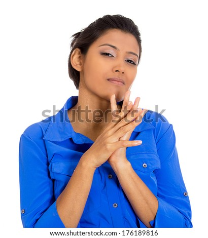 Closeup portrait of sneaky, evil, sly, scheming young woman trying to plot, plan something, screw, hurt someone, isolated on white background. Negative human emotions, facial expressions, feelings - stock photo