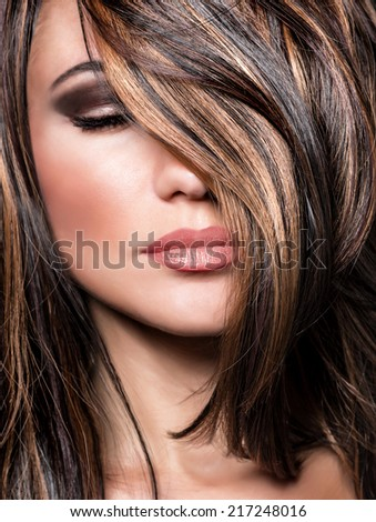 Closeup portrait of stylish gorgeous super model, beautiful makeup and glossy brown hair, luxury hairstyling salon - stock photo
