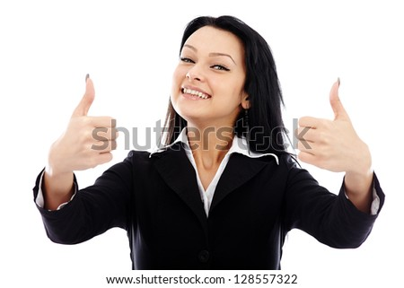 Closeup portrait of successful businesswoman showing thumbs up sign. Isolated on white background - stock photo