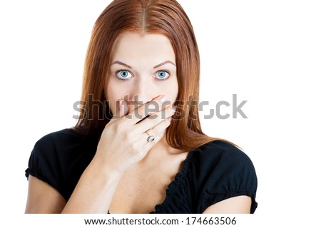 Closeup portrait of surprised, shocked dumbfounded flabbergasted young woman covering her mouth looking at you, isolated white background. Negative emotions, facial expressions, feelings, reactions - stock photo