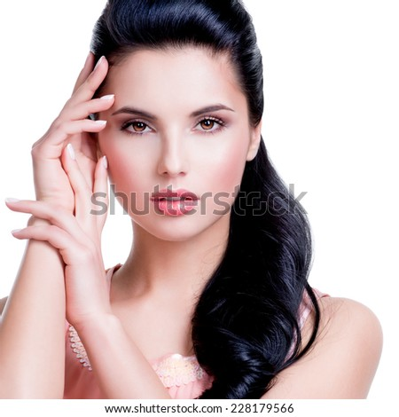 Closeup portrait of the beautiful sensual woman with long brunette hair - isolated on white background. - stock photo