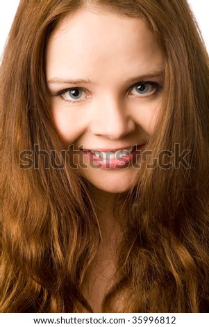 closeup portrait of the beautiful woman on white background