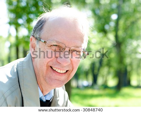 Closeup portrait of the cheerful mature businessman - stock photo