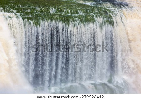 Closeup portrait of the Hacha waterfall in the lagoon of the Canaima national park - Venezuela, Latin America  - stock photo