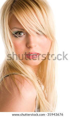 closeup portrait of the young blond woman on white background