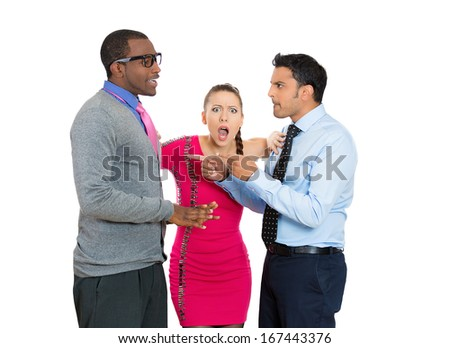Closeup portrait of two men fighting over a woman caught in middle, isolated on white background.  Relationship and society conflict, problems, issues. Negative emotion facial expression feelings. - stock photo