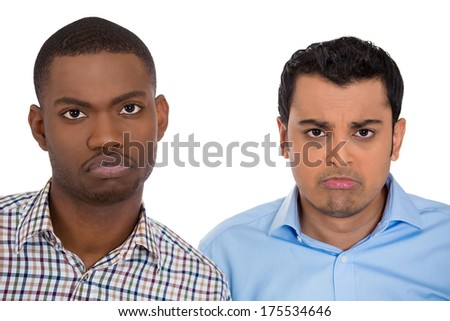 Closeup portrait of two young adult men ashamed sad about to cry looking with puppy dog face. Isolated on white background. Negative human emotion facial expression feelings, attitude, body language - stock photo