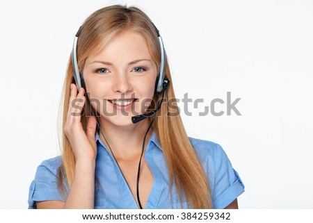 Closeup portrait of woman support phone operator in headset smiling looking at camera, isolated on white - stock photo