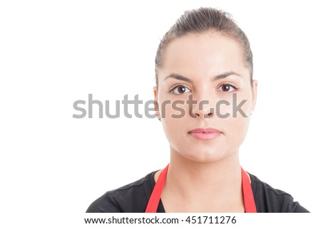Closeup portrait of young beautiful store employee on hypermarket isolated on white background with copyspace - stock photo