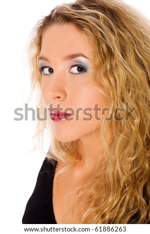 Closeup portrait of young blond woman with curly hair