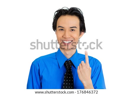 Closeup portrait of young business man pointing up having idea, solution, showing with index finger number one, isolated on white background. Positive human emotions, facial expressions, symbols, sign - stock photo