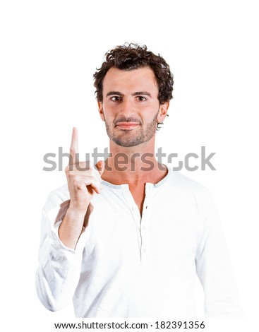 Closeup portrait of young business man pointing up having idea, solution, showing with index finger number one, isolated on white background. Positive human emotions, facial expressions, symbols, sign