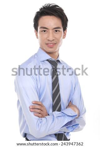 Closeup portrait of young businessman - stock photo