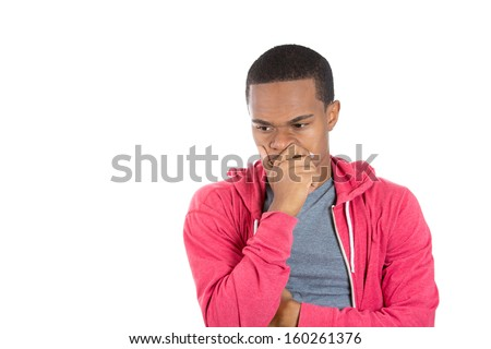 Closeup portrait of young handsome man worker daydreaming pondering, thinking looking downwards, isolated on white background. Negative emotion facial expression feelings, attitude reaction - stock photo