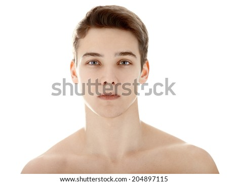 Closeup portrait of young man with health clean skin isolated on white background