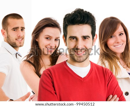 Closeup portrait of young men and women together isolated on white background - stock photo