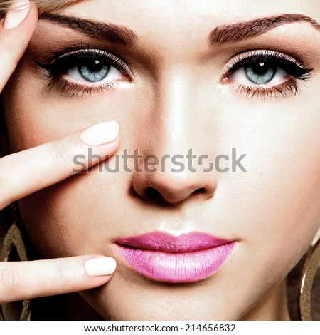 Closeup portrait of  young pretty face of a caucasian woman  - stock photo