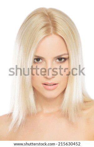 Closeup portrait of young pretty face of a caucasian woman, isolated on white background - stock photo