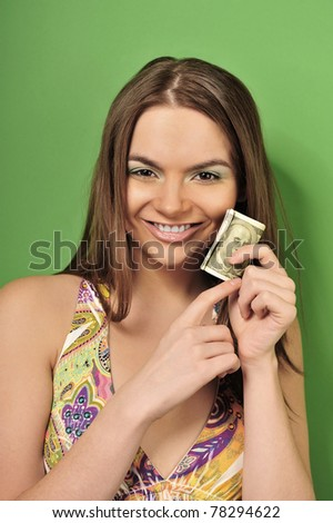 Closeup portrait of young pretty woman - stock photo