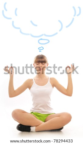 Closeup portrait of young pretty woman meditating. Blank cloud for your text above - stock photo