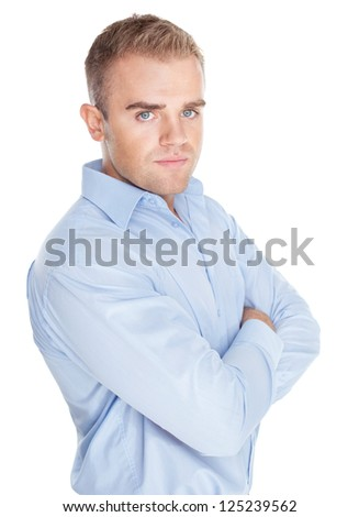 Closeup portrait of young serious businessman on white background