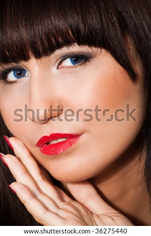 closeup portrait of young sexy brunette woman