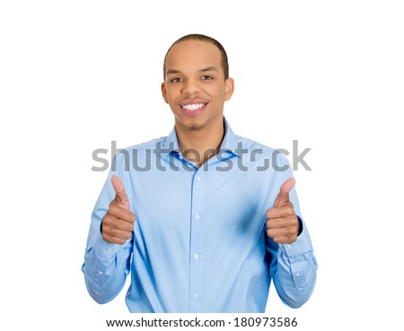 Closeup portrait of young smiling handsome man with two hands guns sign gesture pointing at you camera, isolated white background. Positive human emotion facial expression feelings, signs and symbols - stock photo