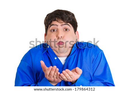 Closeup portrait of young unhappy, annoyed, sick man about to chuck, throw up, retch barf, hurl isolated on white background. Negative human emotions, feelings, facial expressions. Excessive drinking - stock photo